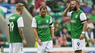 Hibernian players looking dejected