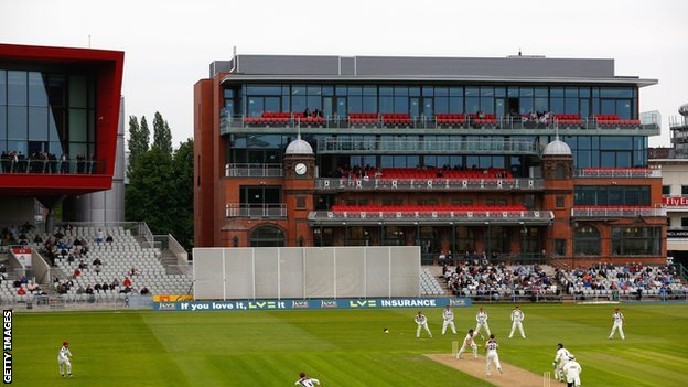 The refurbished pavilion at Old Trafford