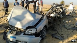 Car bomb that detonated in El-Arish in Egypt's Sinai peninsula.