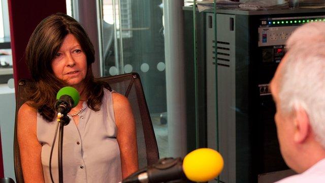 Judith Tebbutt with BBC World Service presenter Dan Damon
