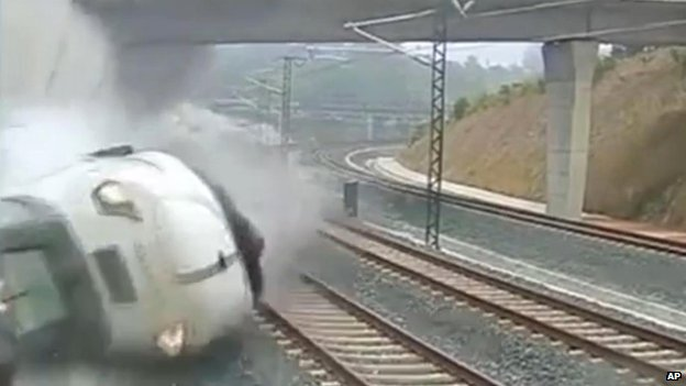 Security camera video footage shows a train derailing in Santiago de Compostela on 24 July 2013