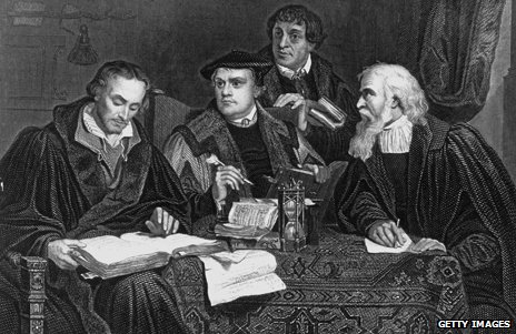 A black and white depiction of Martin Luther and three other German reformists of the Catholic Church
