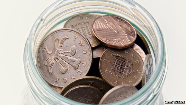 Image of a glass jar full of 1p and 2p coins