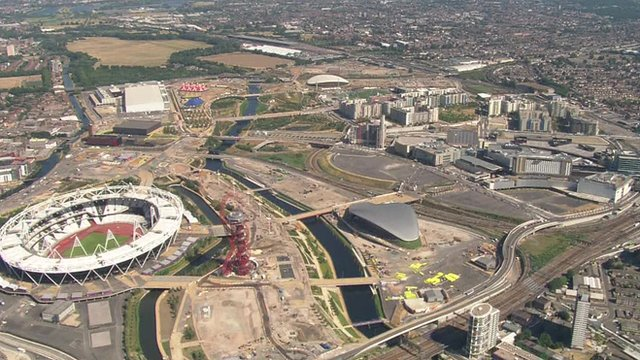 Aerial view of the former Olympic Park