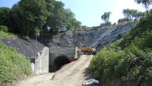 Beaminster Tunnel entrance picture taken on 11 July 2013 as the works near completion