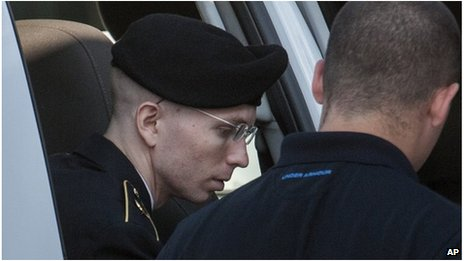 Bradley Manning arrives at court in Fort Meade, Maryland on 26 July 2013