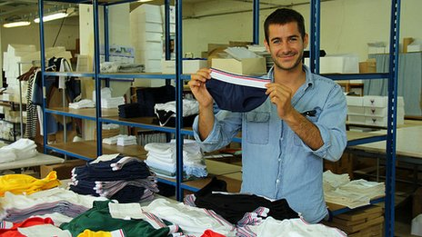 Guillaume Gibault with underwear in his factory