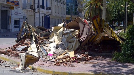 Destroyed kiosk in Bizerte