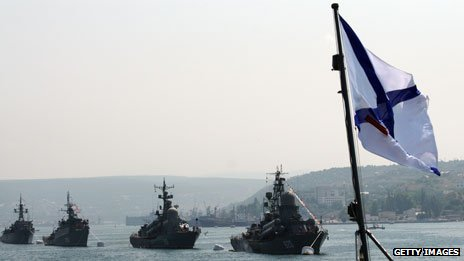 Russian Navy ships at anchor in Sevastopol
