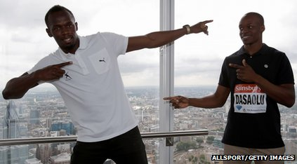 Usain Bolt and James Dasaolu