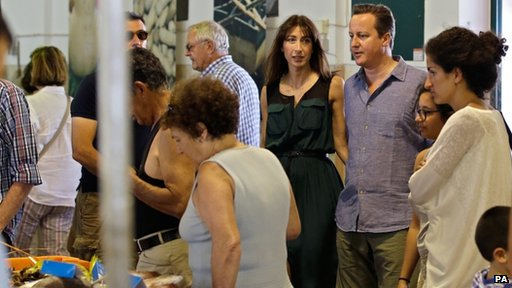 Samantha and David Cameron at a fish market