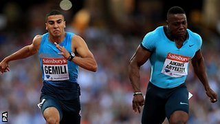 Adam Gemili (left) wins the 100m B race