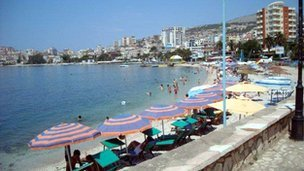 Sun umbrellas in Saranda