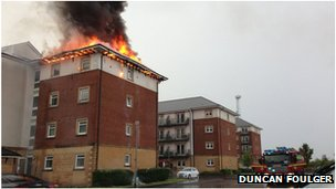 Fire at a block of flats