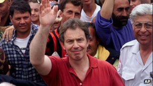 Tony Blair at a refugee camp in 1997