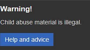 Bing warning pop-up message