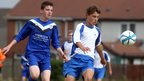 Ballinamallard's Jonathan Cassidy and Callum Howard of Ballymoney in Under-14 action at the Foyle Cup tournament