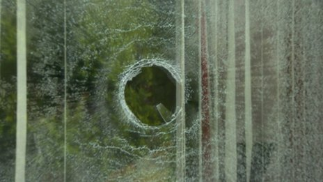 The window of a house  in Ringford Park that was damaged in the attack