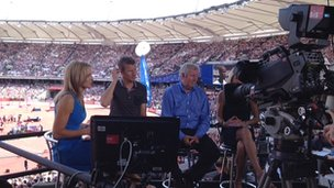 Gabby Logan and the BBC team