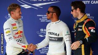 Sebastian Vettel, Lewis Hamilton and Romain Grosjean