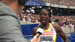 Christine Ohuruogu is interviewed