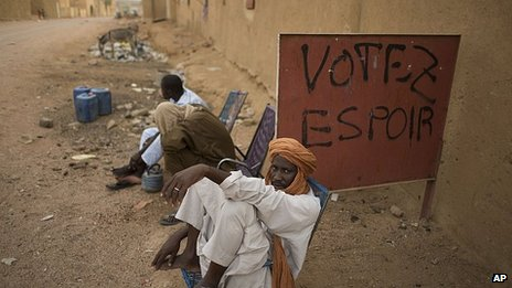 "Graffiti reads ""Vote hope,"" in Kidal, Mali"