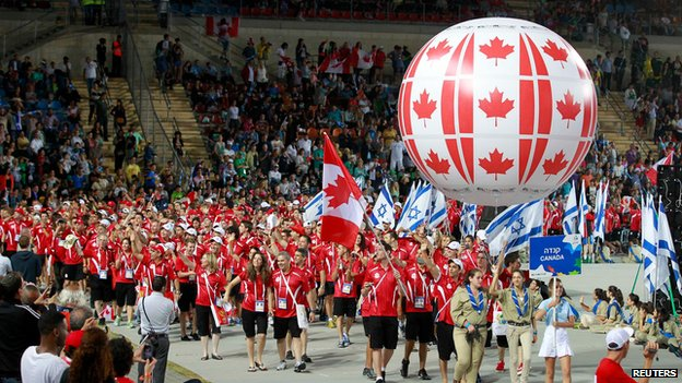 Canadian delegation in opening ceremony of Maccabiah Games (18 July)