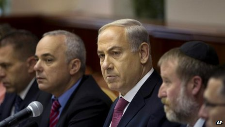 Israeli Prime Minister Benjamin Netanyahu at the cabinet meeting, 28 July