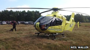 Air ambulance at Heath Plantation