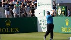Ian Woosnam tees off during the second round of the Senior Open Championship at Royal Birkdale.