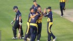 Glamorgan's Jim Allenby celebrates with team mates after Richard Levi was run out, but the visitors won by six wickets.