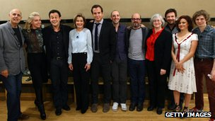 (L-R) Jeffrey Tambor, Portia De Rossi, Mitchell Hurwitz, Jessica Walter, Will Arnett, Tony Hale, David Cross, Nancy Franklin, Jason Bateman, Michael Cera and Alia Shawkat