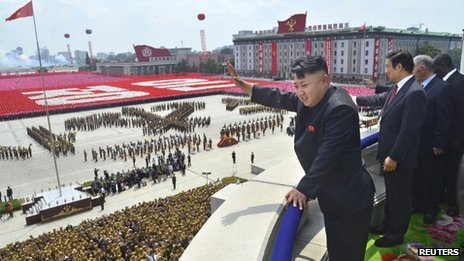 North Korean leader Kim Jong-un waves during a military parade to at Kim Il-sung Square in Pyongyang