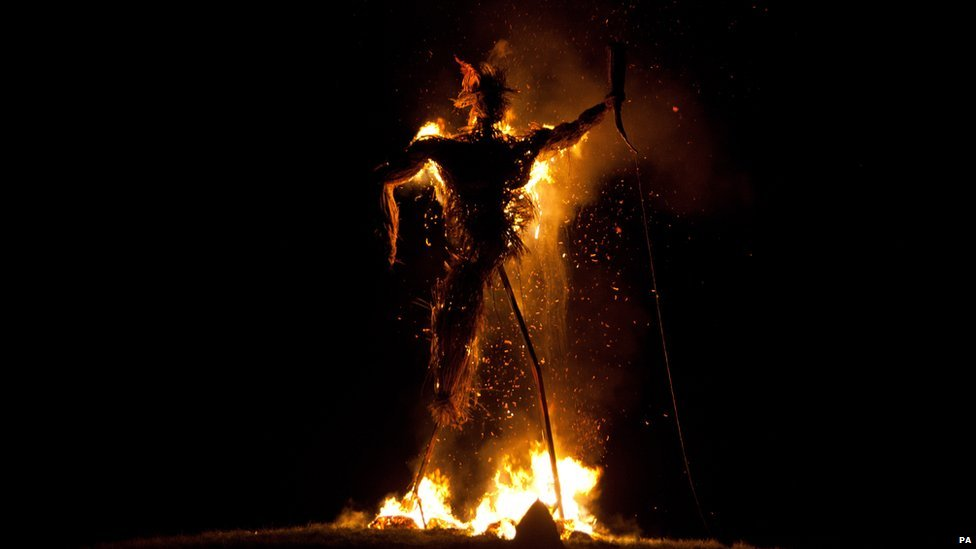 Effigy burns during the Wickerman Festival