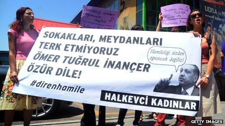 Women demonstrate in front of the Turkish state TV headquarters