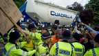 Protesters prevent a lorry from entering the site near Balcombe in West Sussex