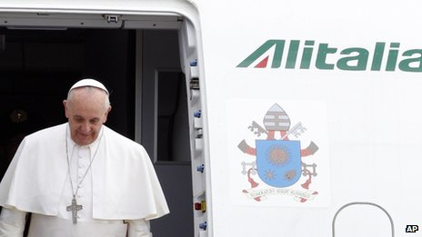 Pope Francis arriving in Rome, 29 July 2013