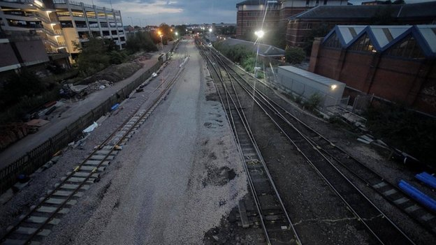 New track being laid at Nottingham Station