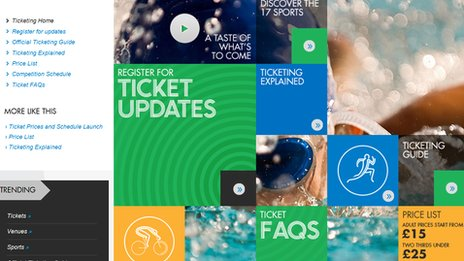 The Glasgow 2014 ticketing website