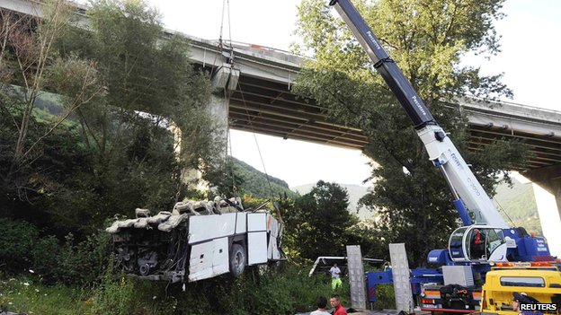 Crane removes coach wreckage