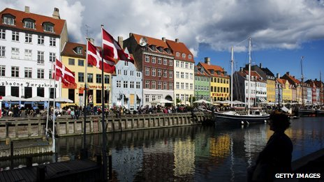 A canal in Copenhagen with brightly coloured buildings