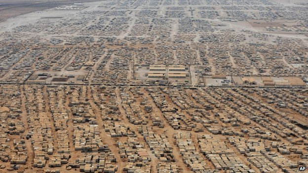 Aerial view of the Zaatari refugee camp