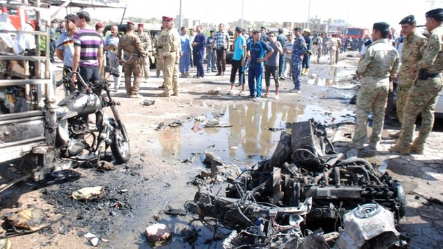 The aftermath of a car bomb in Kut