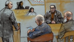 "Court sketch of James ""Whitey"" Bulger in court with Steve ""The Rifleman"" Flemmi on the stand in Boston, Massachusetts on 19 July 2013"