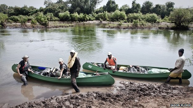 Jason Florio, Helen Jones-Florio, Abdou Ndong, Ebou Jarju and Yousef Keita prepare to leave Kedougou, Senegal on the first day of their River Gambia expedition