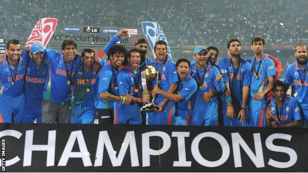 India cricket team celebrate winning the 2011 World Cup in Mumbai