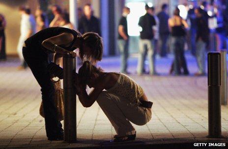 Binge drinkers in city centre