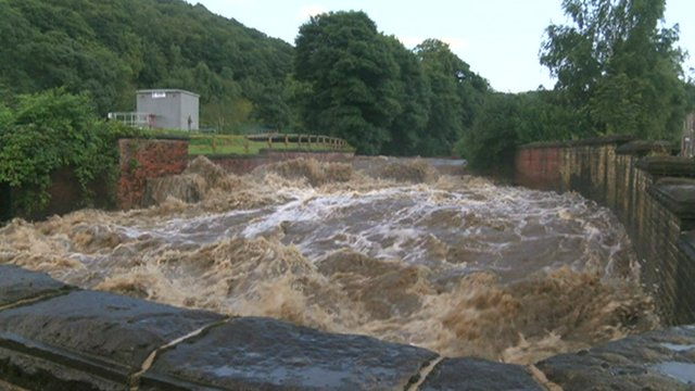 Flooded River Calder in Todmorden