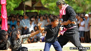Khmer Rouge crimes re-enactment