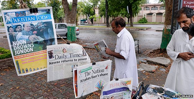 Newspaper stand in Pakistan